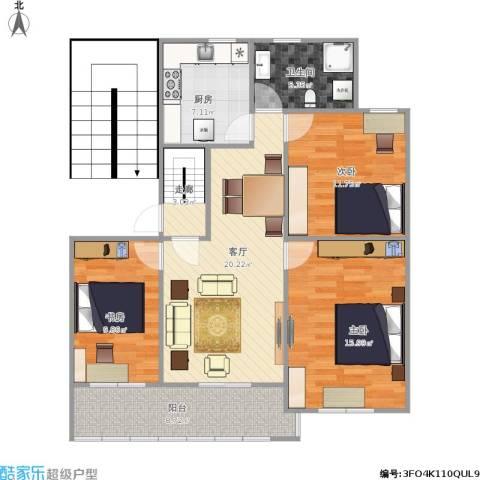 普陀新村3室1厅1卫1厨111.00㎡户型图