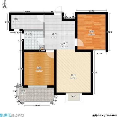 同美中央生活区2室1厅1卫1厨91.00㎡户型图