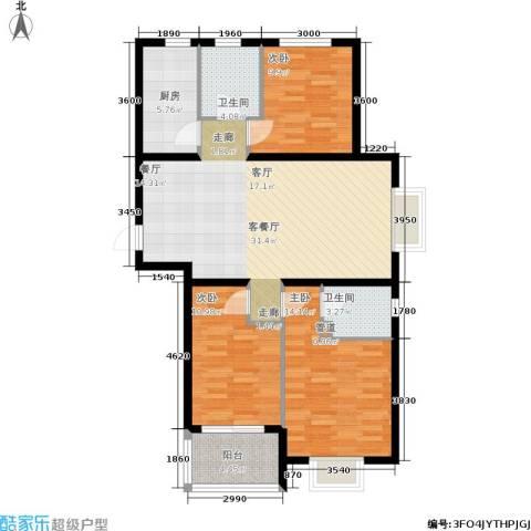 同美中央生活区3室1厅2卫1厨95.07㎡户型图