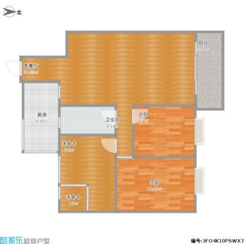 清华苑2室1厅1卫1厨106.00㎡户型图
