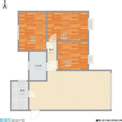下麦老湾塘(绿洲湾)3室1厅1卫1厨80.00㎡户型图
