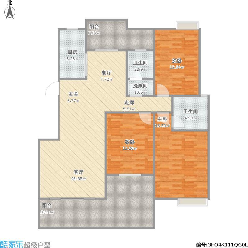 联发旭景27栋C20户型三房两厅两卫