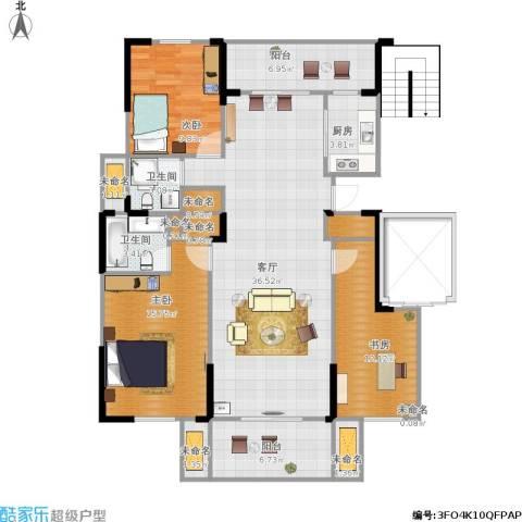 华府国际3室1厅2卫1厨143.00㎡户型图