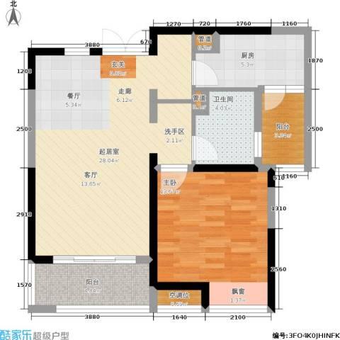 嘉宝紫提湾1室0厅1卫1厨70.00㎡户型图
