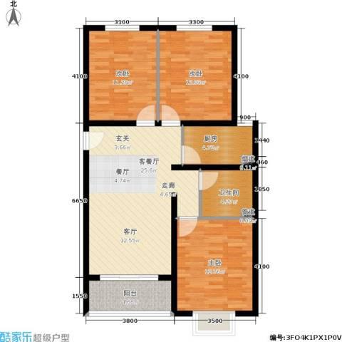 凡尔赛公馆3室1厅1卫1厨111.00㎡户型图