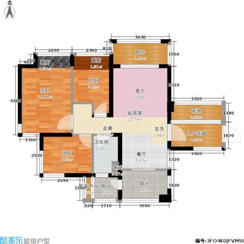 明园森林都市三期涵翠苑3室0厅1卫0厨88.00㎡户型图