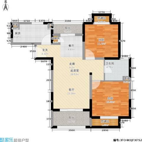 绿洲香格丽花园2室0厅1卫1厨90.00㎡户型图