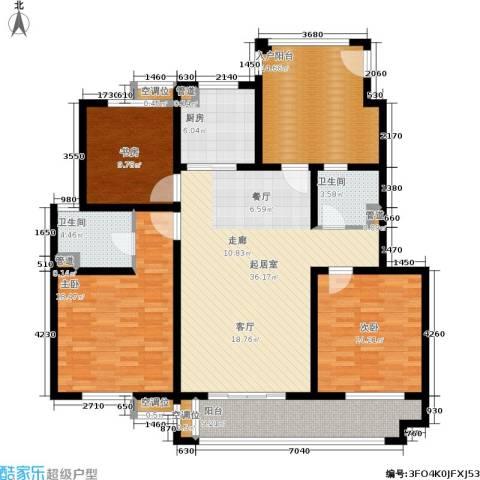 绿洲香格丽花园3室0厅2卫1厨136.00㎡户型图