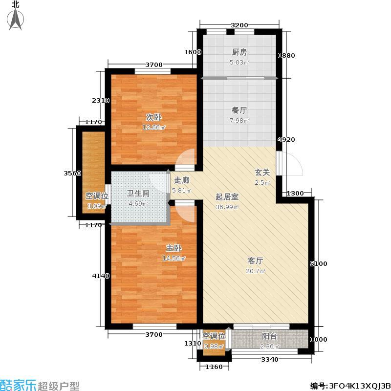 澜湾半岛96.59㎡一期13-14号楼标准层C户型2室2厅