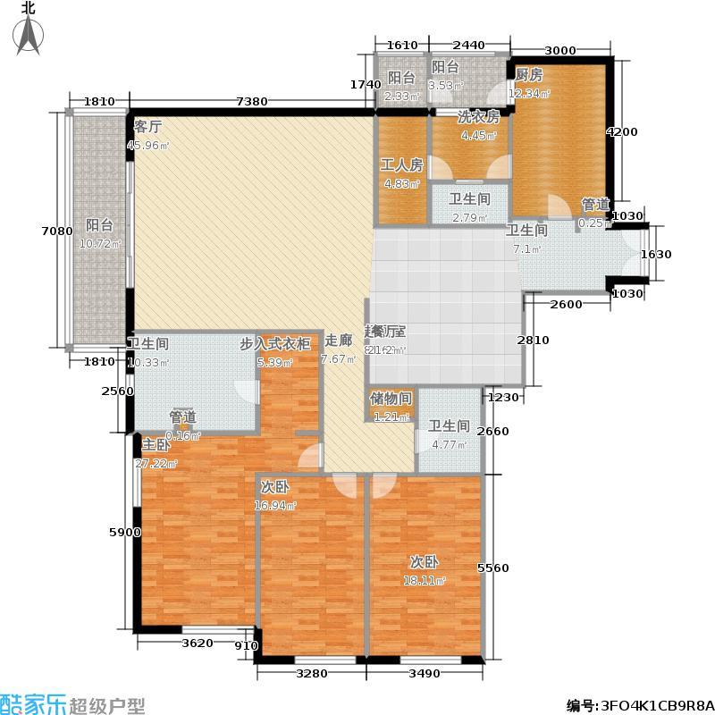 世茂宫园220.90㎡三居面积22090m户型