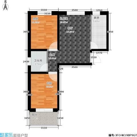 龙潭湖凤凰山庄公寓2室0厅1卫1厨79.00㎡户型图