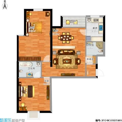 京铁和园2室1厅2卫1厨121.00㎡户型图