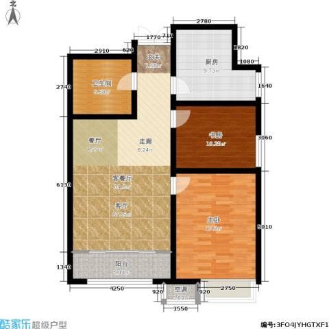 宇泰泰悦2室1厅1卫1厨93.00㎡户型图