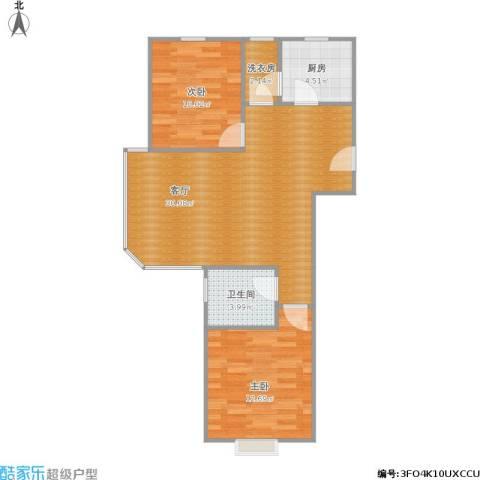 周庄嘉园88平米2室1厅1卫1厨85.00㎡户型图