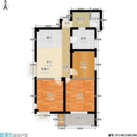 天籁华都3室1厅1卫1厨95.00㎡户型图