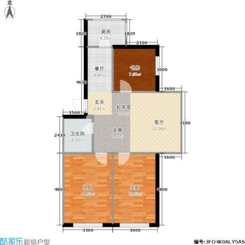 龙腾金荷苑3室0厅1卫1厨89.00㎡户型图