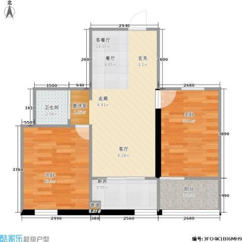 格林小镇2室1厅1卫1厨66.00㎡户型图