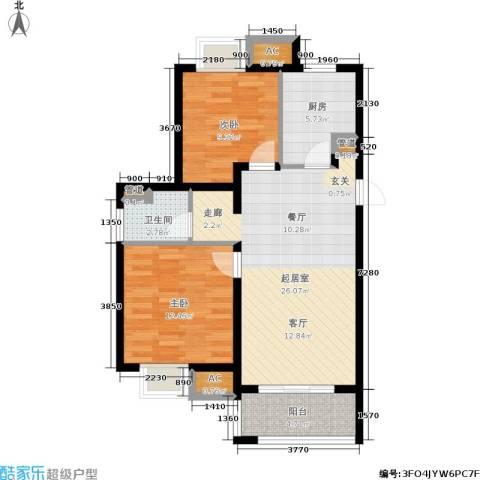 旭辉美澜城2室0厅1卫1厨78.00㎡户型图