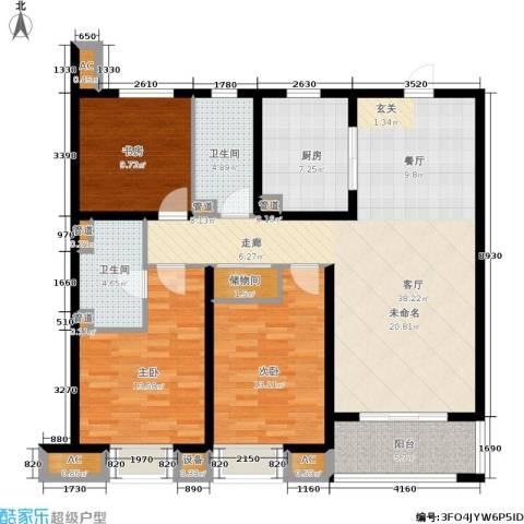 旭辉美澜城3室1厅2卫1厨118.00㎡户型图