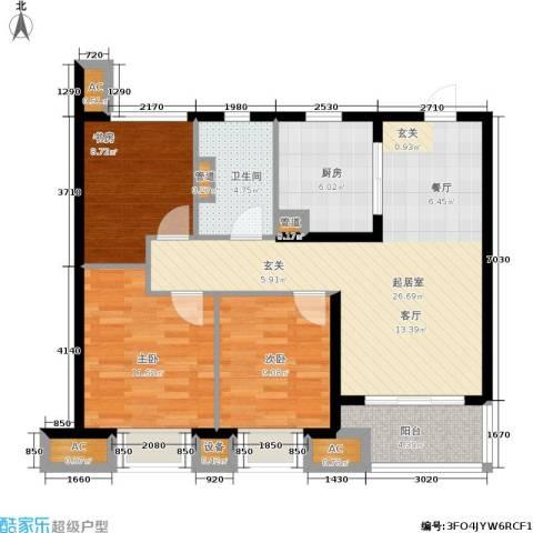 旭辉美澜城3室0厅1卫1厨89.00㎡户型图