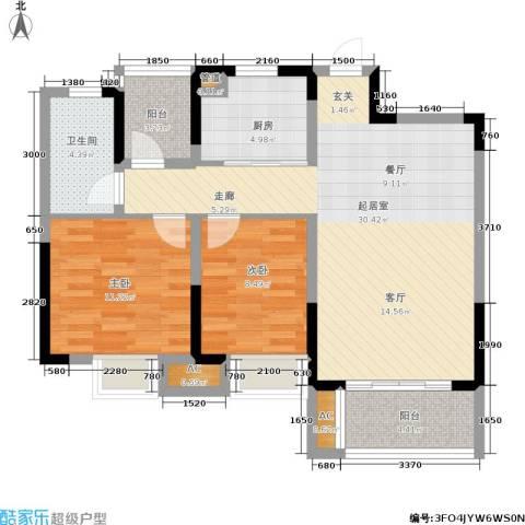 恒基水漾花城2室0厅1卫1厨86.00㎡户型图
