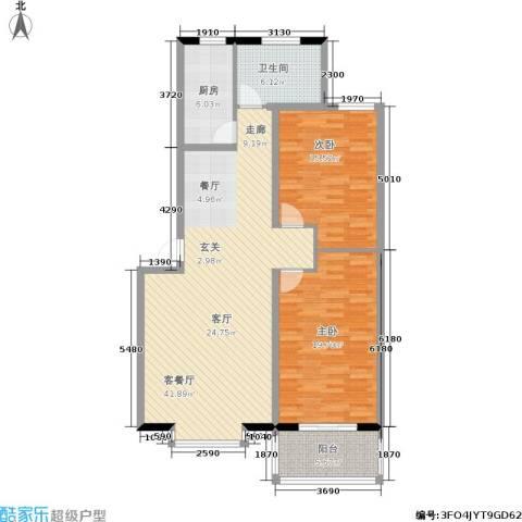青青花园2室1厅1卫1厨106.00㎡户型图