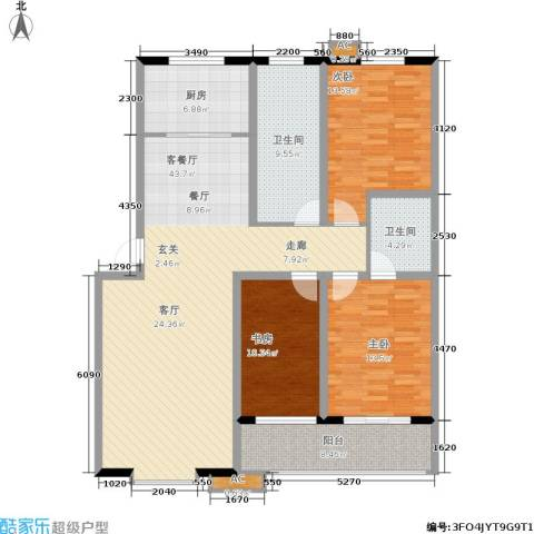 青青花园3室1厅2卫1厨126.00㎡户型图