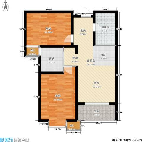 悦水澜庭2室0厅1卫1厨91.00㎡户型图
