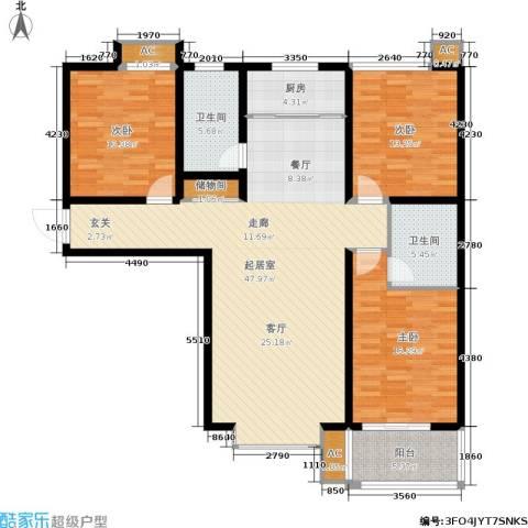 悦水澜庭3室0厅2卫1厨130.00㎡户型图