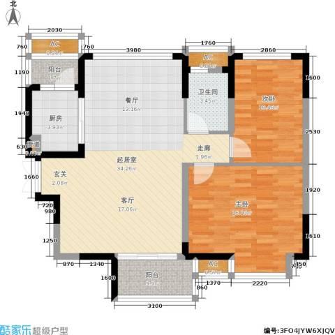 恒基水漾花城2室0厅1卫1厨88.00㎡户型图