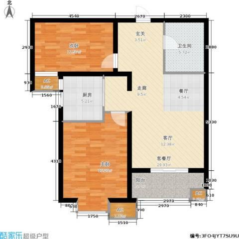 悦水澜庭2室1厅1卫1厨87.00㎡户型图