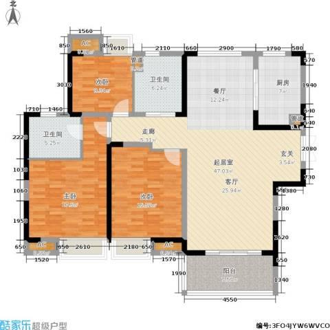 恒基水漾花城3室0厅2卫1厨140.00㎡户型图