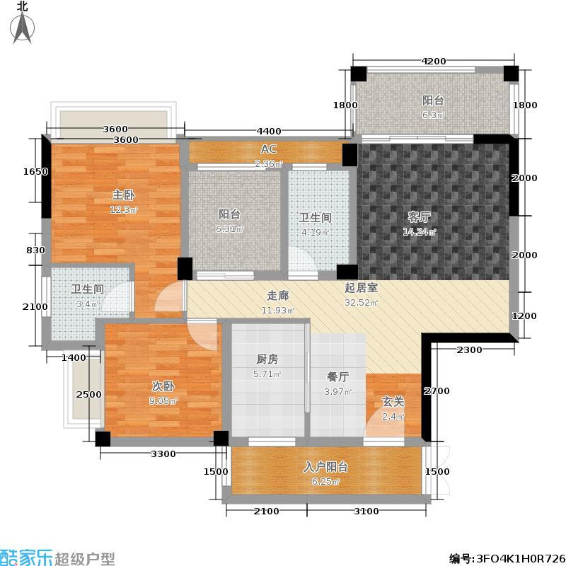 红河国际111.24㎡1#&2#楼A户型
