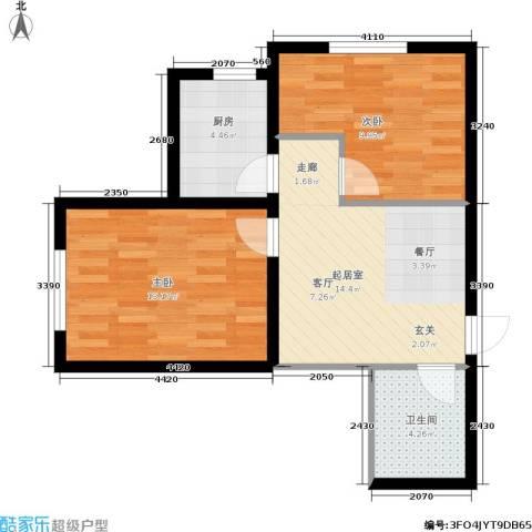 阳光绿城2室0厅1卫1厨55.00㎡户型图