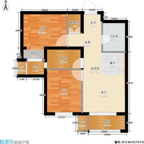 怀特翰墨儒林2室0厅1卫1厨84.00㎡户型图