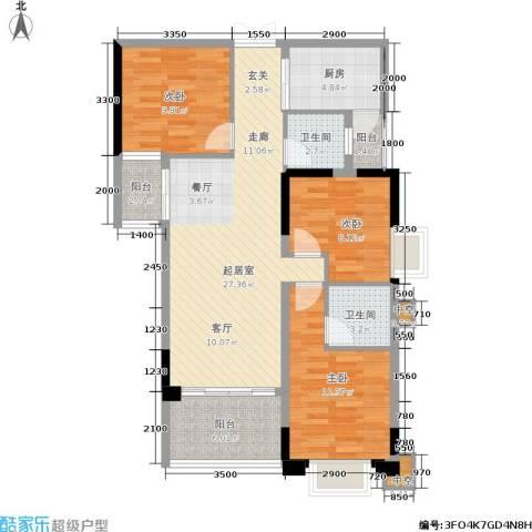 华谊城3室0厅2卫1厨112.00㎡户型图