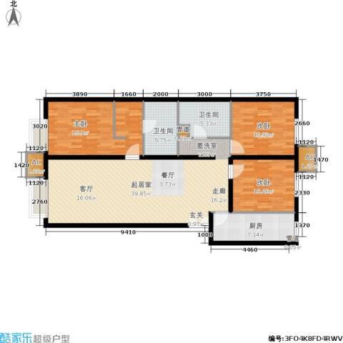 远洋沁山水上品3室0厅2卫1厨135.00㎡户型图