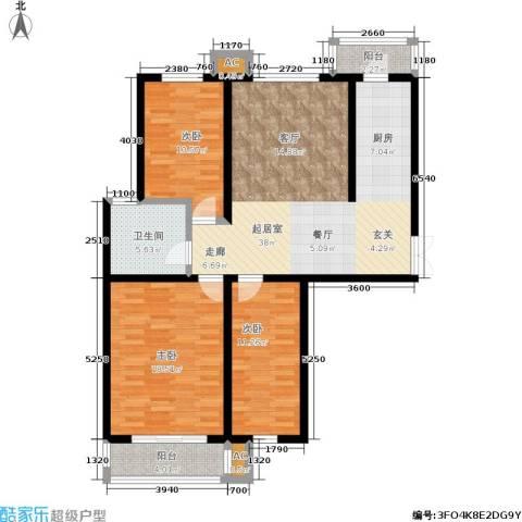 枫丹美庐3室0厅1卫0厨131.00㎡户型图