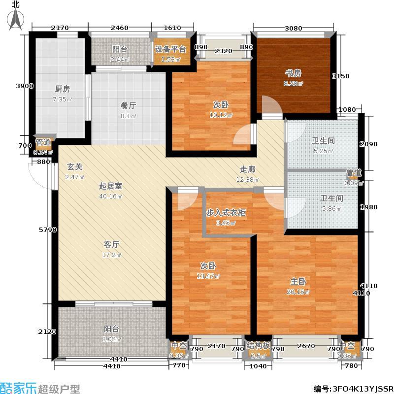 龙湖时代天街143.00㎡西单元C2户型3室2厅