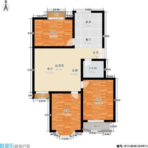 枫丹美庐3室0厅1卫0厨135.00㎡户型图