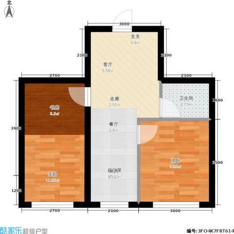 皇都郦景三期2室0厅1卫0厨58.00㎡户型图