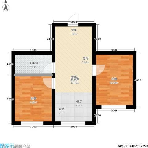 皇都郦景三期2室0厅1卫0厨62.00㎡户型图