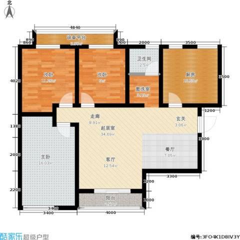 天籁华都3室0厅1卫1厨118.00㎡户型图