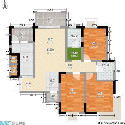 华谊城3室0厅2卫1厨122.00㎡户型图