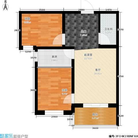 龙潭湖凤凰山庄公寓2室0厅1卫1厨76.00㎡户型图