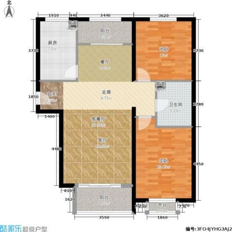 龙熙帝景2室1厅1卫1厨99.00㎡户型图