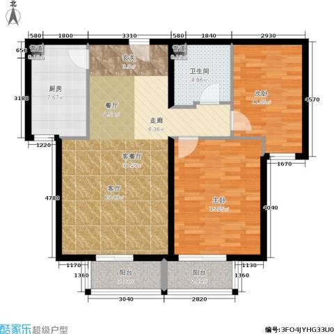 龙熙帝景2室1厅1卫1厨90.00㎡户型图