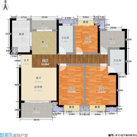 天鸿・尹山湖韵佳苑3室0厅2卫1厨137.00㎡户型图
