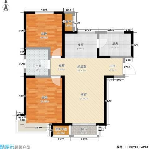双发金玺城2室0厅1卫1厨90.00㎡户型图