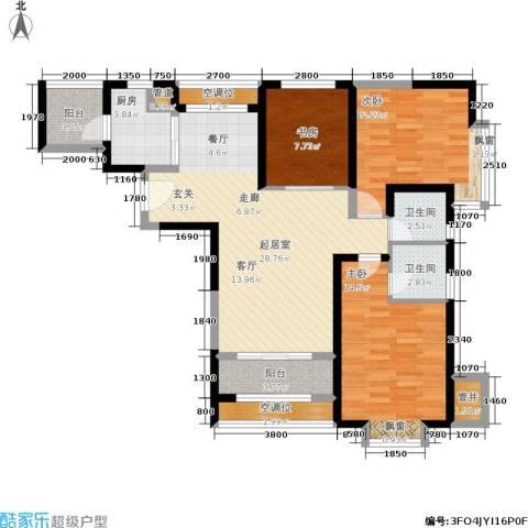 北辰红星国际广场3室0厅2卫1厨120.00㎡户型图